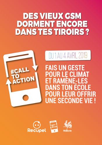 Affiche de la collecte des téléphones portables Call to Action