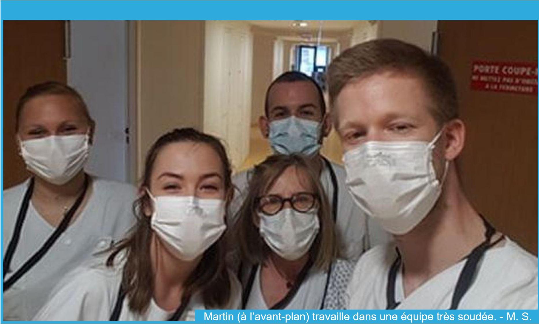 Photo de Martin Simon et de son équipe à l'Hôpital du Pays du Mont-Blanc de Sallanches