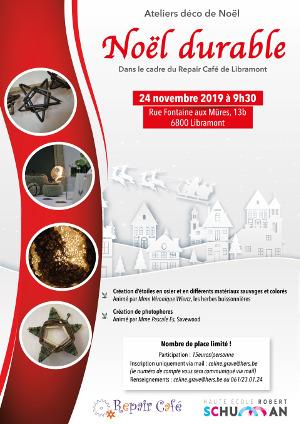 Affiche Noël durable 24 novembre 2019 - Haute École Robert Schuman