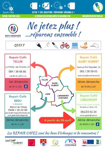 Affiche des 4 Repair Cafés de la Porvince de Luxembourg