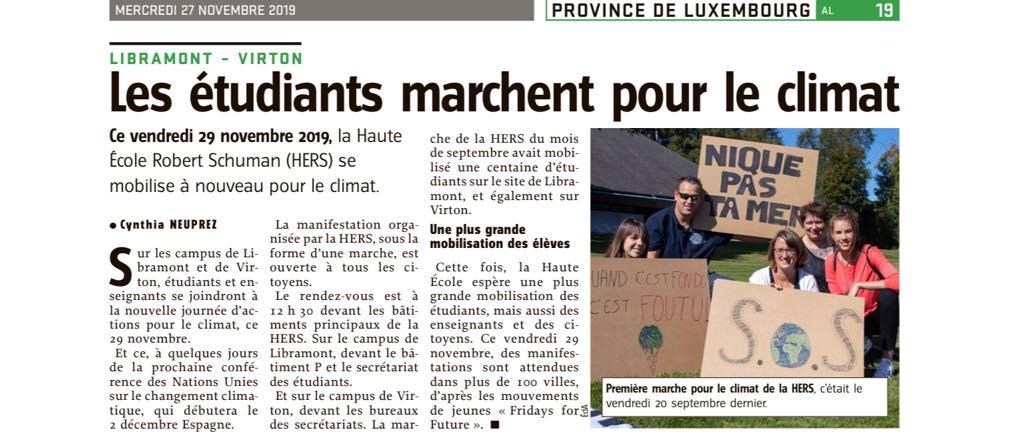 Article du journal l'Avenir sur la marche de la HERS pour le climat - 29 novembre 2019