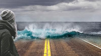 Photomontage illustrant un raz de marée causé par le réchauffement climatique