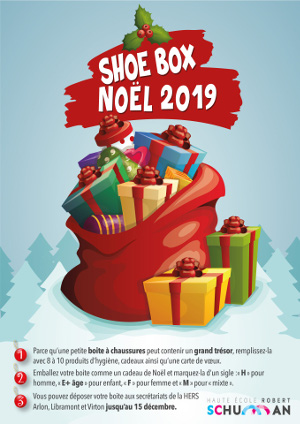 Affiche de l'opération Christmas Shoe Box de la HERS 2019