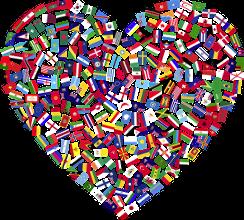 Illustration d'un coeur avec des drapeaux