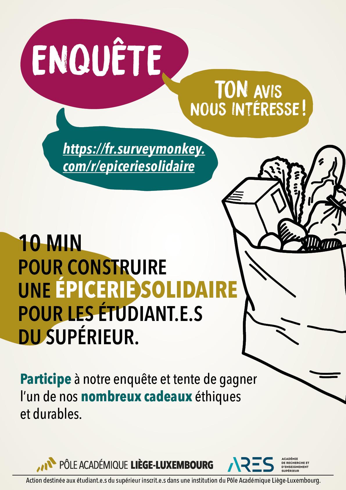 Affiche de l'enquête sur une épicerie solidaire au sein du Pôle